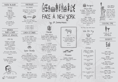 Menu of Face a New York
